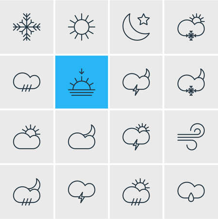 Vector Illustration Of 16 Atmosphere Outline Icons. Editable Set Of Sunlight, Windstorm, Snowflake And Other Elements.