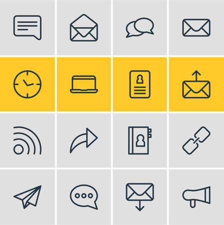 Vector Illustration Of 16 Contact Outline Icons. Editable Set Of Origami, Publish, Letter And Other Elements.
