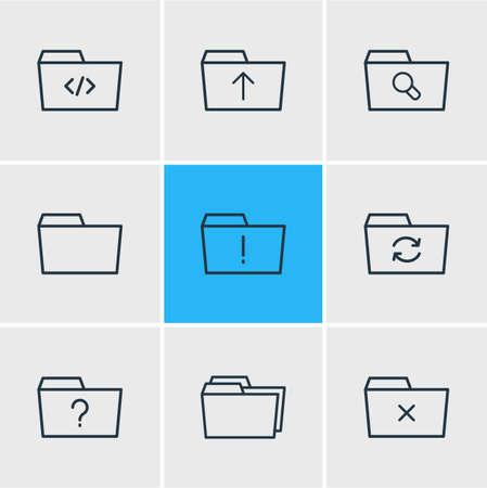 9 フォルダー概要アイコンのベクター イラストです。ドキュメント ケース、拡大鏡、質問、その他の要素の編集可能なセットです。  イラスト・ベクター素材