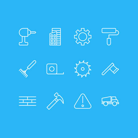Vector Illustration Of 12 Industry Outline Icons. Editable Set Of Apartment, Harrow, Road Sign And Other Elements. 일러스트
