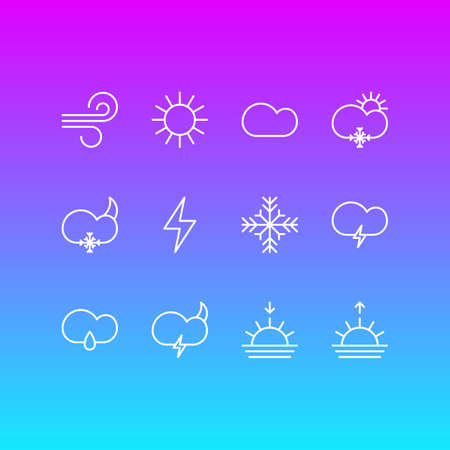 Vector Illustration Of 12 Atmosphere Outline Icons. Editable Set Of Snow, Drizzles, Fulminant And Other Elements.
