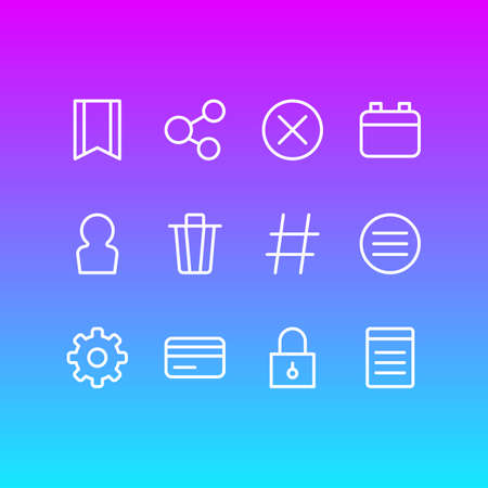 Vector Illustration Of 12 Annex Outline Icons. Editable Set Of User, Closed, Locked And Other Elements.  イラスト・ベクター素材