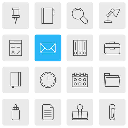 Vector Illustration Of 16 Tools Outline Icons. Editable Set Of Archive, Binder Clip, Folder And Other Elements.