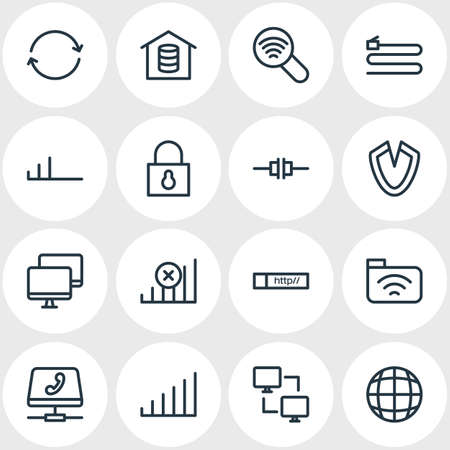 Vector Illustration Of 16 Web Outline Icons. Editable Set Of Padlock, Web, Low Connection And Other Elements. Ilustração