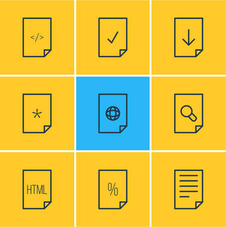 Vector Illustration Of 9 Page Outline Icons. Editable Set Of Search, Percent, Document And Other Elements.