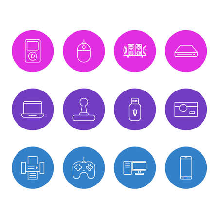 Vector Illustration Of 12 Device Outline Icons. Editable Set Of Computer, Media Controller, Photography And Other Elements.