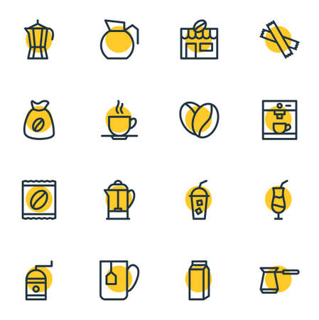 Vector Illustration Of 16 Drink Outline Icons. Editable Set Of Mill, Seed, Sweetener And Other Elements.