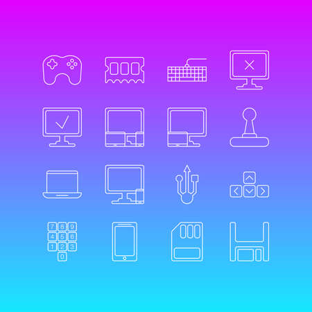 Vector Illustration Of 16 Notebook Outline Icons. Editable Set Of Gadgets, Number Keypad, Game Controller And Other Elements.