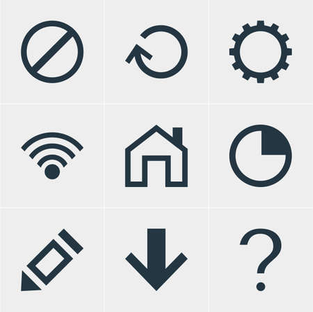 Vector Illustration Of 9 Interface Icons. Editable Set Of Pen, Help, Access Denied And Other Elements.