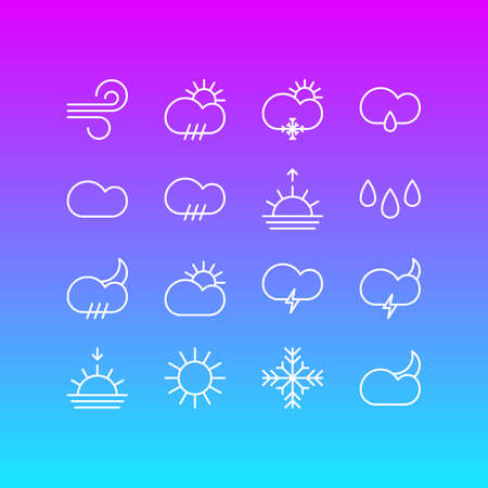 Vector Illustration Of 16 Atmosphere Outline Icons. Editable Set Of Sunlight, Sunrise, Rain And Other Elements. Illustration