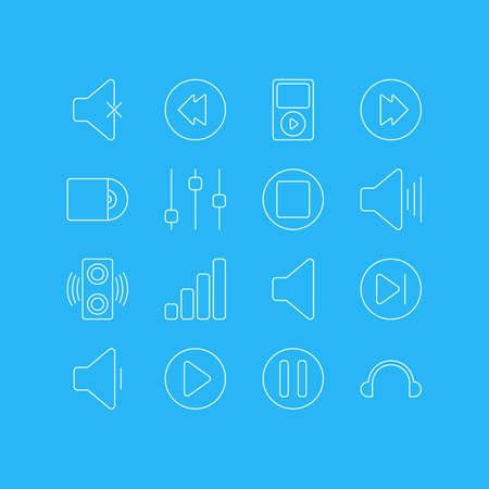 Vector Illustration Of 16 Melody Outline Icons. Editable Set Of Acoustic, Compact Disk, Soundless And Other Elements.