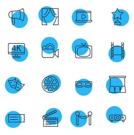 Vector Illustration Of 16 Film Outline Icons. Editable Set Of Movie Reel, Megaphone, Reward And Other Elements.