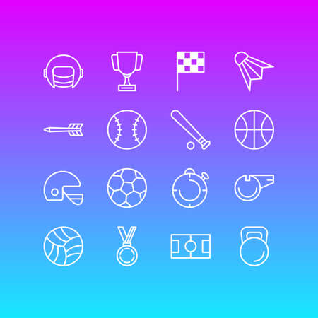 Vector Illustration Of 16 Fitness Outline Icons. Editable Set Of Batting, Second, Badminton And Other Elements.