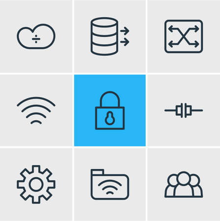 Vector Illustration Of 9 Internet Outline Icons. Editable Set Of Cloud Storage, Disconnected, Wave And Other Elements.