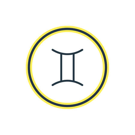 Vector Illustration Of Gemini Outline. Beautiful Astrology Element Also Can Be Used As Twins Element.