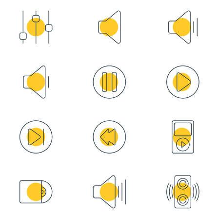 Vector Illustration Of 12 Music Outline Icons. Editable Set Of Speaker, Mp3, Reversing And Other Elements. Illustration