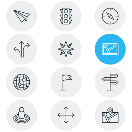 Vector Illustration Of 12 Navigation Outline Icons. Editable Set Of Pennant, Stoplight, Orientation And Other Elements. Illustration