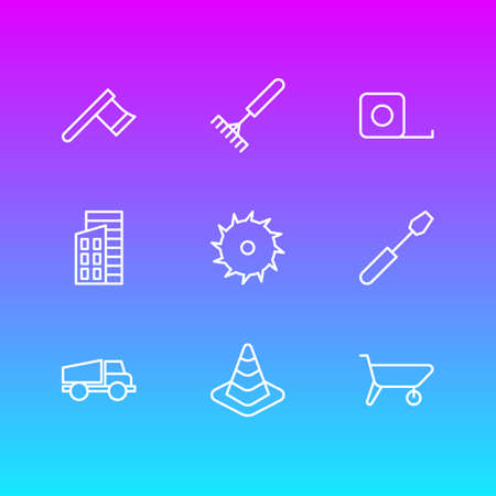 Vector Illustration Of 9 Industry Outline Icons. Editable Set Of Circle Blade, Harrow, Apartment And Other Elements.