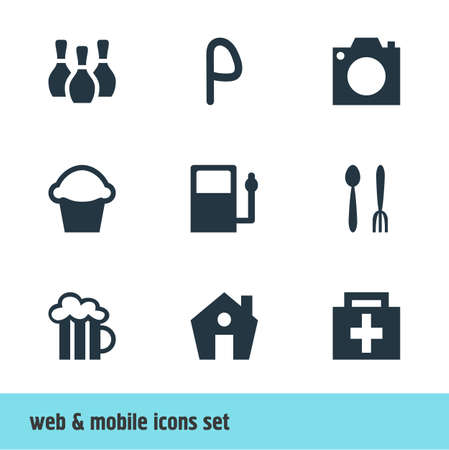 Vector Illustration Of 9 Check-In Icons. Editable Set Of Photo Device, Cafe, Cake And Other Elements. 일러스트
