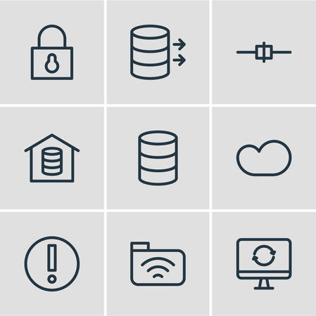 Vector Illustration Of 9 Internet Outline Icons. Editable Set Of Update, Cable, Padlock And Other Elements.