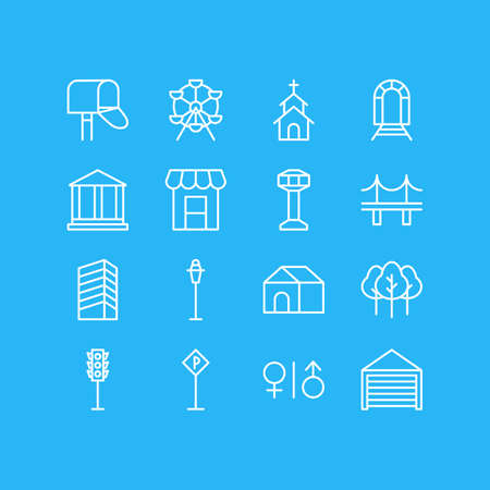 Vector Illustration Of 16 City Outline Icons. Editable Set Of Toilet, Courthouse, Control Tower And Other Elements.
