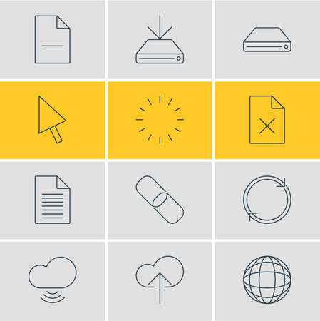 Vector Illustration Of 12 Web Outline Icons. Editable Set Of Pointer, Wave, Removing File And Other Elements.