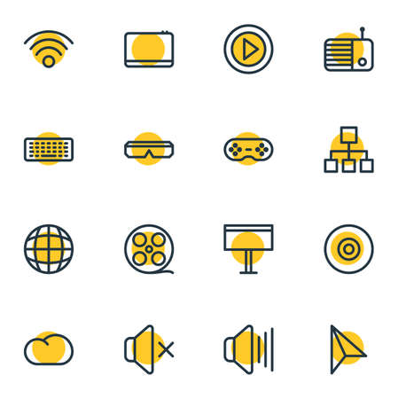 Vector Illustration Of 16 Music Outline Icons. Editable Set Of Spectacles, Mobile, Volume Up And Other Elements.