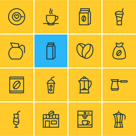 Vector Illustration Of 16 Java Outline Icons. Editable Set Of Package, Package Latte, Mocha And Other Elements.