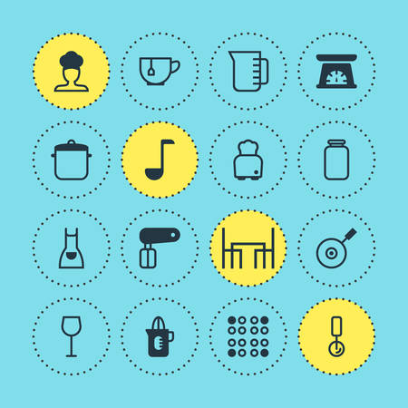 Vector Illustration Of 16 Cooking Icons. Editable Set Of Whisk, Mug, Bread And Other Elements.