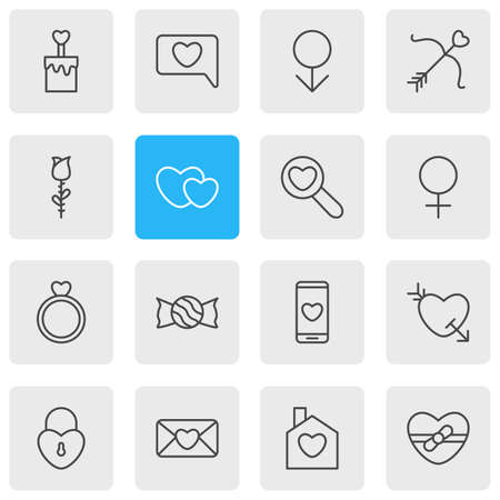 Vector Illustration Of 16 Love Outline Icons. Editable Set Of Cupid, Present, Smartphone And Other Elements.