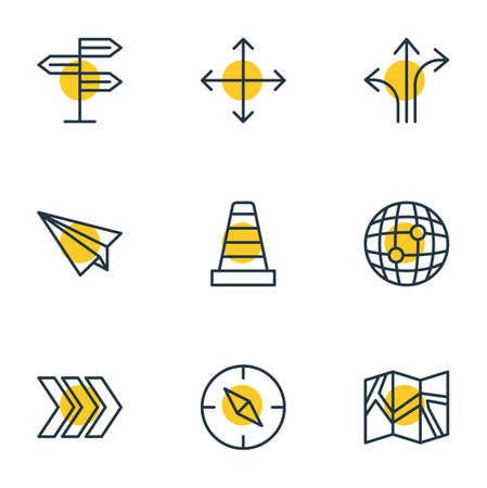 Vector Illustration Of 9 Direction Outline Icons. Editable Set Of Signpost, Caution, Navigation And Other Elements.
