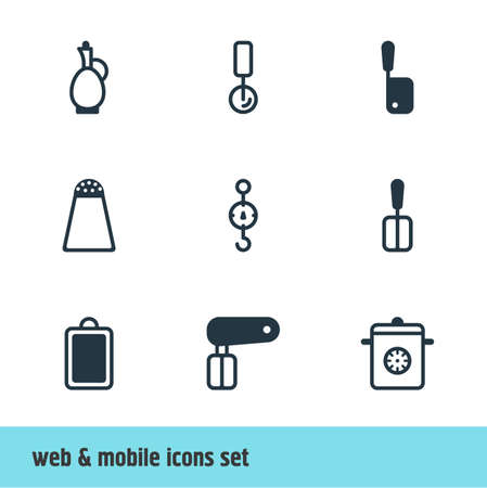 Vector Illustration Of 9 Restaurant Icons. Editable Set Of Steelyard, Whisk, Chopping Desk And Other Elements.