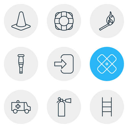 Vector illustration of 9 necessity icons line style. Editable set of crutches, lifebuoy, extinguisher and other elements. Çizim