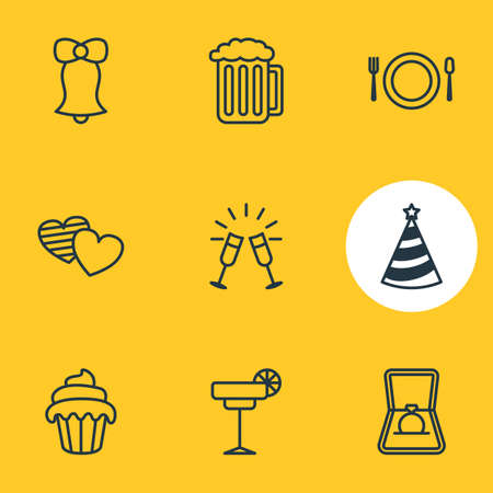 Vector illustration of 9 banquet icons line style. Editable set of martini, goblet, engagement and other elements. Illustration