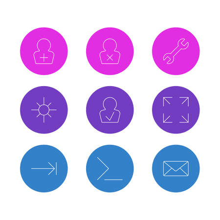 Vector illustration of 9 interface icons line style. Editable set of blocked profile, full screen, setting and other elements.