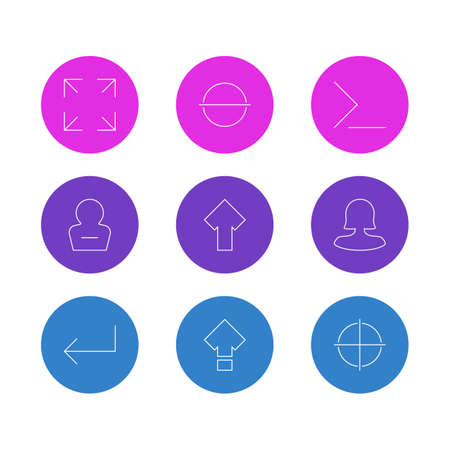 Vector illustration of 9 UI icons line style. Editable set of full screen, arrow, command line elements.