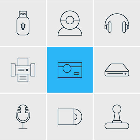 Vector illustration of 9 accessory icons line style. Editable set of microphone, flash drive, cd-rom and other elements.