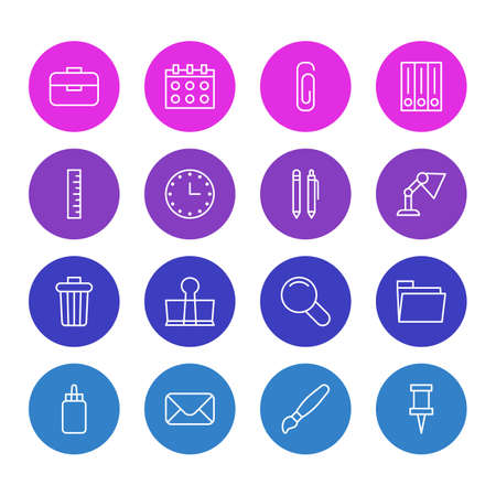Illustration of 16 stationery icons Vectores