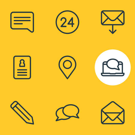 Vector illustration of connect icons line style. Editable set of pencil, correspondence, resume and other elements.