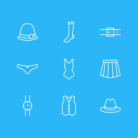 Vector illustration of 9 clothes icons line style. Editable set of hand clock, hosiery, waistcoat elements.
