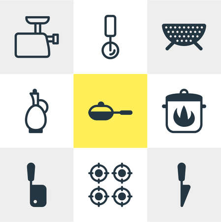 Vector illustration of 9 cooking icons. Editable set of round slicer, butcher knife, carafe and other elements. Çizim