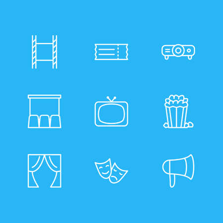 Vector illustration of 9 film icons line style. Editable set of megaphone, slideshow, tv and other elements.