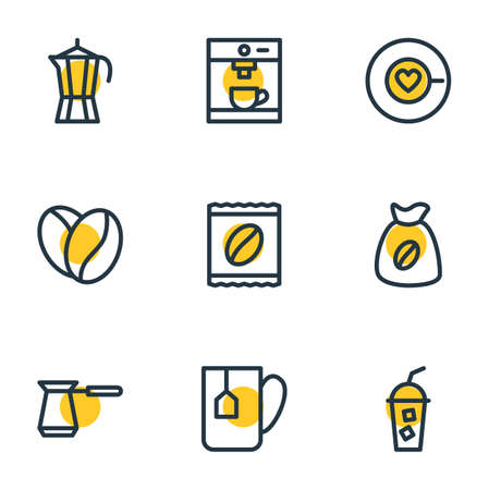 Vector illustration of 9 java icons line style. Editable set of seed, saucer, package latte and other elements. Illustration