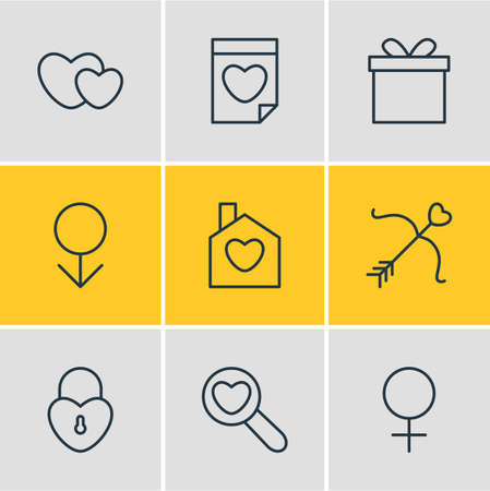 Vector illustration of 9 amour icons line style. Editable set of date, female, man and other elements.