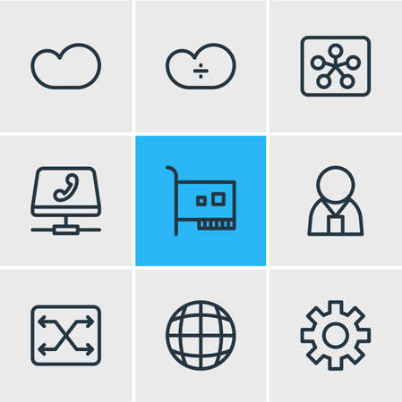 Vector illustration of 9 internet icons line style. Editable set of administrator, switch, voip gateway and other elements.
