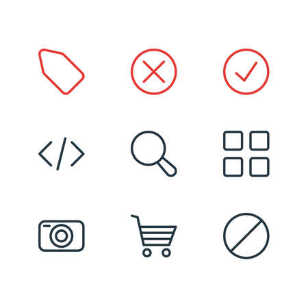 Vector illustration of 9 app icons line style. Editable set of done, shopping, magnifier and other elements.
