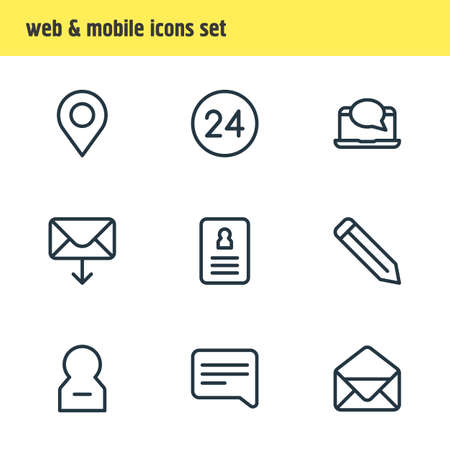 illustration of 9 contact icons line style. Editable set of correspondence, pencil, resume and other elements.
