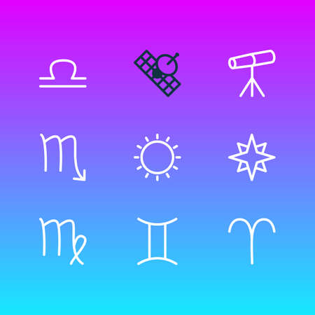 illustration of 9 astrology icons line style. Editable set of zodiac sign, twins, favorite and other elements. Stock Photo