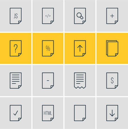 illustration of 16 page icons line style. Editable set of file, copy, code and other elements.