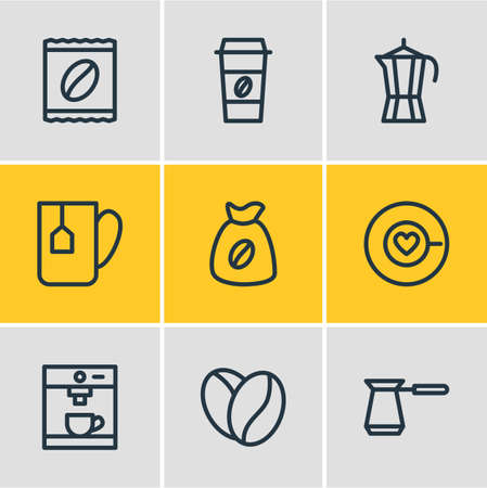 Illustration of 9 icons line style. Editable set of espresso, mug, turkish and other elements. Banco de Imagens